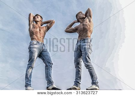 Divine Beauty. Sexy Torso Attractive Body. Denim Pants Emphasize Masculinity Sexuality. Men Twins Br