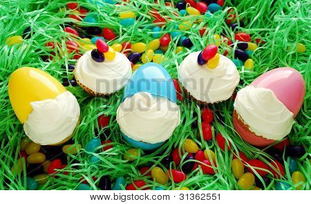 Easter Cupcakes In Eggs