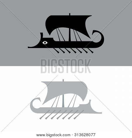 Ancient Sailboat, Greek Warship, Trireme Vessel (vector Silhouette).