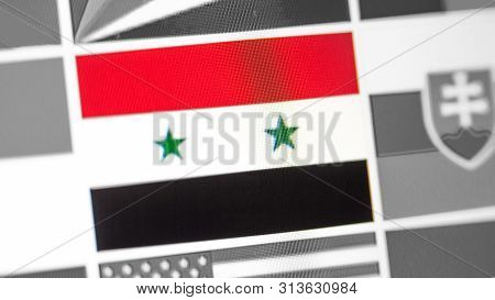 Syria National Flag Of Country. Syria Flag On The Display, A Digital Moire Effect. News Of Geography