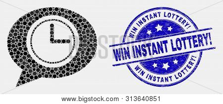 Dot Clock Message Balloon Mosaic Pictogram And Win Instant Lottery Exclamation Seal. Blue Vector Rou