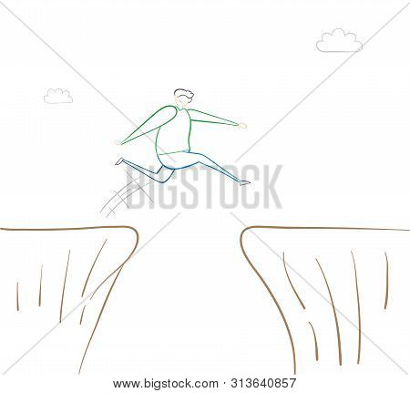 Man Jumping Over Abyss, Hand-drawn Vector Illustration. Color Outlines And White Background.