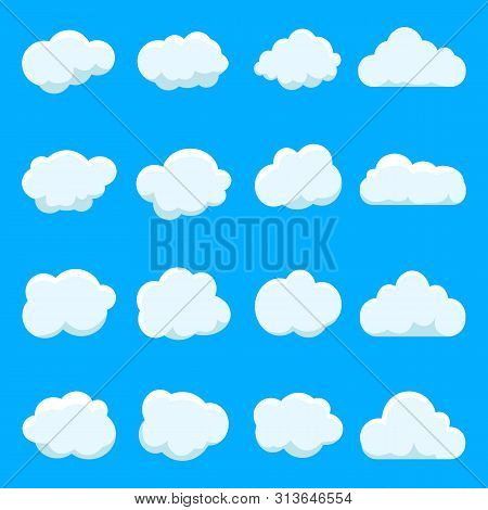 Cartoon Cloud Of Sky On Blue Background.graphic Heaven In Vintage Style.flat Collection Of Blue Clou