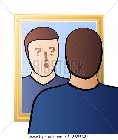 Doubtful Man Looking In The Mirror - Identity Crisis, Uncertainty, Self-doubts, Scepticism, Bewilder