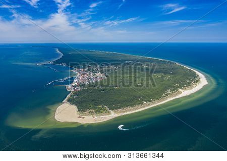 Aerial View Of Hel Peninsula In Poland, Baltic Sea And Puck Bay (zatoka Pucka) Photo Made By Drone F