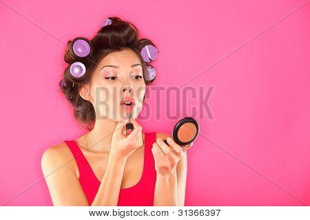 Makeup Woman Putting Lipstick