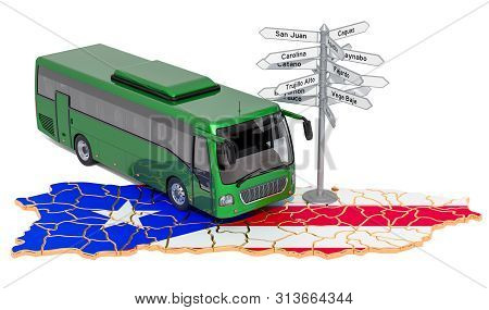 Puerto Rico Bus Tours Concept. 3d Rendering Isolated On White Background