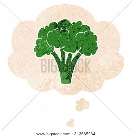 cartoon brocoli with thought bubble in grunge distressed retro textured style