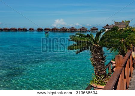 Malaysia. On The Picturesque Island Of Mabul There Are 5 Diving Centers With Beautiful Views Of The