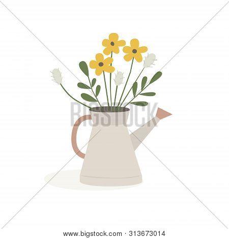 A Bouquet Of Wild Flowers In A Garden Watering Can. Floristry. Flower Arrangements, Flowers For Deco