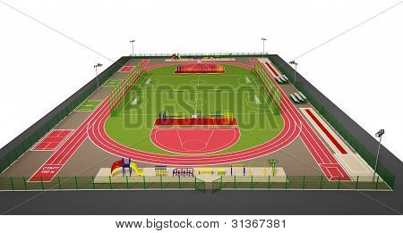 Sport field 3d model isolated on white