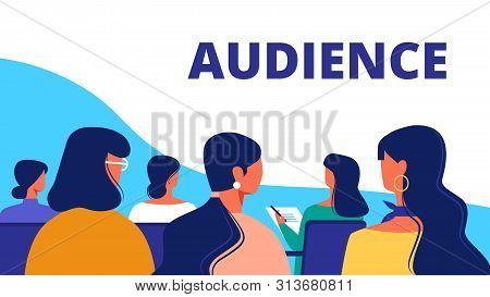 Training For Women. Woman Audience In Hall. Strategy Training For Women. Vector Illustration. Woman