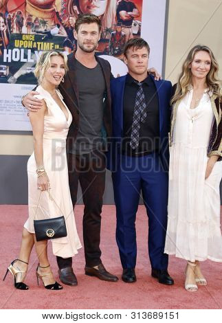 Luke Hemsworth, Samantha Hemsworth, Elsa Pataky and Chris Hemsworth at the Los Angeles premiere of 'Once Upon a Time In Hollywood' held at the TCL Chinese Theatre in Hollywood, USA on July 22, 2019.