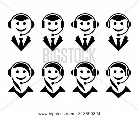 Call Center Operator Symbols On White Background. Support Flat Icons.