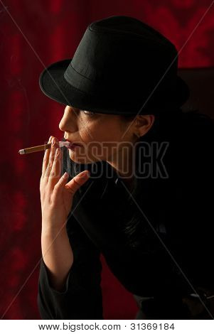 Woman With Hat Smoking