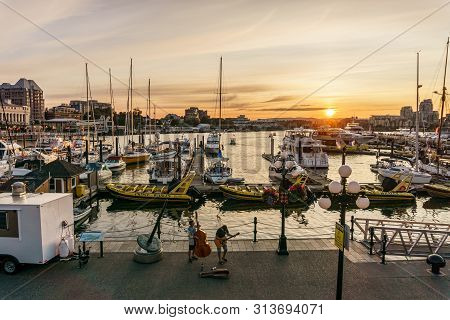 Victoria, Canada - July 13, 2019: Street View In The City Center Of Victoria Historical And Travel D