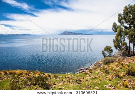 Panoramic view from Village on Taquile island in Titicaca lake, Peru. South America.