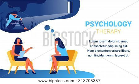Psychologist Sits On Yellow Chair Near Woman With Handkerchief In Hand. Woman Depression. Psychologi