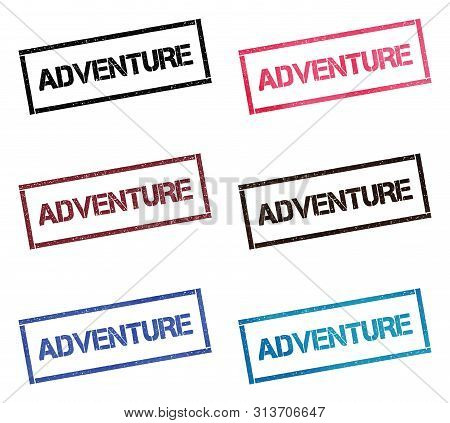 Adventure Rectangular Stamp Collection. Textured Seals With Text Isolated On White Backgound. Stamps