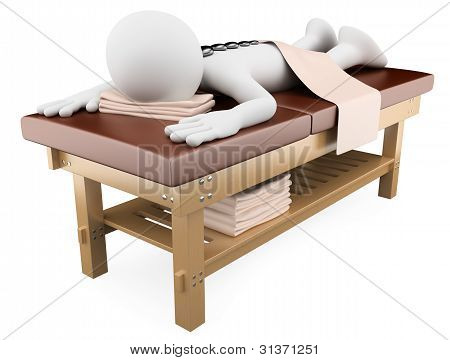 3D Woman Receiving Hot Stone Massage