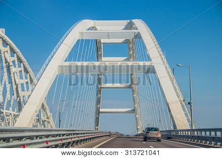 Crimean Bridge. New Bridge. Road And Railway Bridge Over The River. Russia, Kerch Strait, Crimea Bri