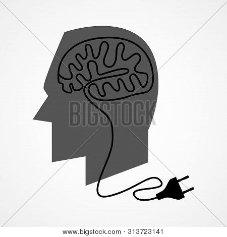 Graphic Illustration Of A Human Head With Unplug Power Cable That Forming A Human Brain