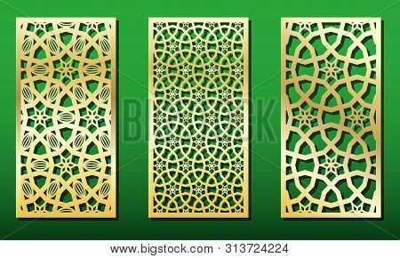 Laser Cut Panels With Islamic Geometric Ornament. Set Of Templates For Wood Or Metal Decoration, Las