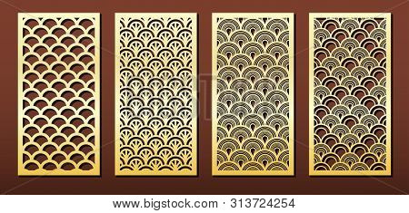 Vector Set Of Laser Cut Panels. Islamic Design With Arabic Geometric Pattern. Stencil Or Template Fo