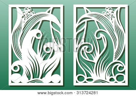 Laser Cut Panels With Floral Pattern. Stencil Or Template For  Interior Wood Or Metal Décor Cutout,