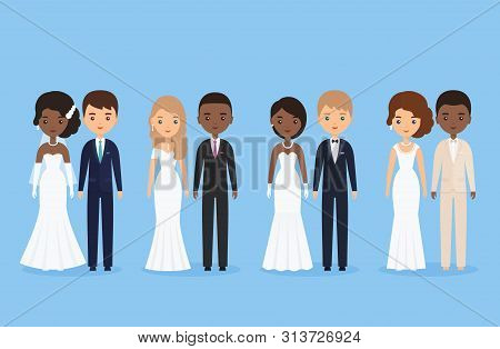 Interracial Bride And Groom. Mixed Newlywed Couple. Cartoon Wedding Characters Standing Isolated. Ve