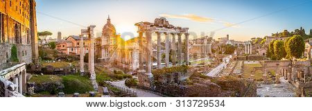 Roman Forum At Sunrise, Rome, Italy. Rome Ancient Architecture And Landmark. Roman Forum Is One Of T