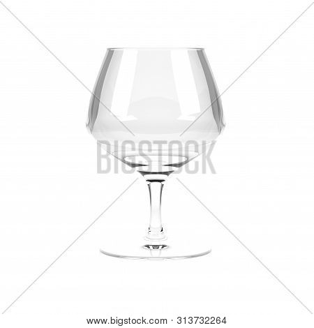 Snifter, Brandy Glass. 3d Rendering Illustration Isolated On White Background