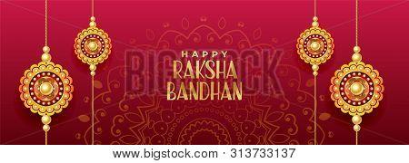 Hindu Festival Of Rakshabandhan Banner Vector Illustration