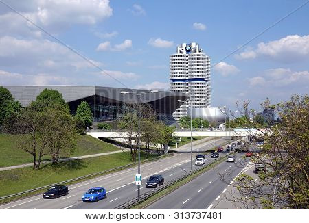 Munich, Germany - May The 1st, 2019: Bmw Headquarter, Welt And Museum Buildings In Munich View From