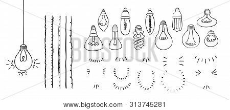 Make A Light Bulb Hand Drawn Set With Bulbs, Wires And Lighting, Concept Of Idea, Doodle Style, Cons