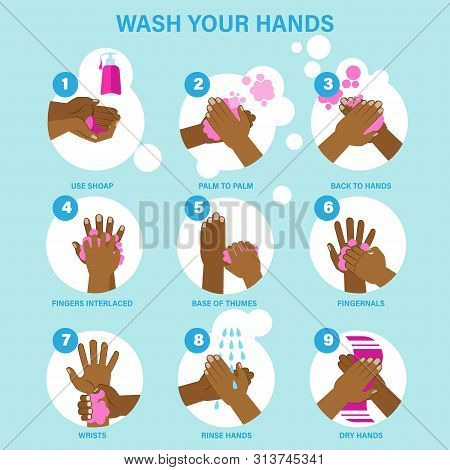 Washing Hands Properly Guidance Poster Black Skin Infographic Set Cartoon Style Vector Illustration.