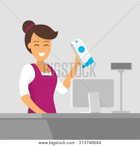 Smiling Cashier At The Checkout. Buying Groceries In The Store. Vector Illustration Of A Flat Style.
