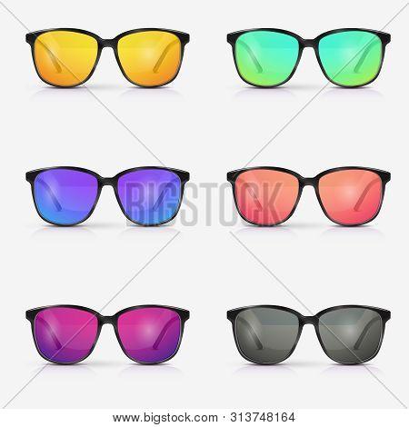 Vector Set Of Sunglasses. Eyeglasses With Color Lens. Modern Sunglasses.