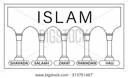 5 Pillars Of Islam. Kids Educational Illustration Vector. Hajj, Faith, Prayer, Pilgrimage, Fasting
