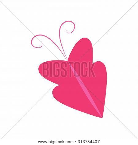Butterfly Design. Pink Butterfly Vector. Butterfly Isolated On White Background. Butterfly - Vector