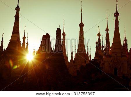 Shwe Inn Thein Paya, Indein, Nyaungshwe , Inle Lake, Shan State, Myanmar .burma . Silhouette Of Weat