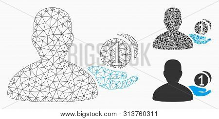 Mesh Panhandler Model With Triangle Mosaic Icon. Wire Frame Triangular Network Of Panhandler. Vector
