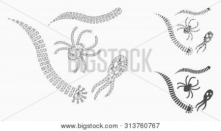 Mesh Parasites Model With Triangle Mosaic Icon. Wire Frame Triangular Mesh Of Parasites. Vector Mosa