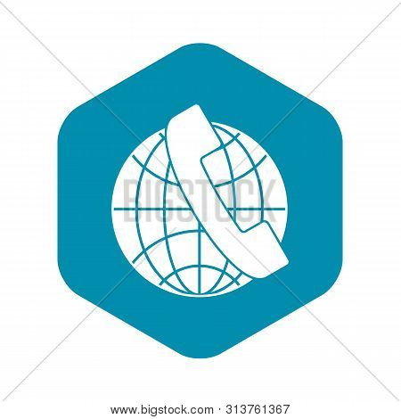 Handset And Globe Icon. Simple Illustration Of Handset And Globe Vector Icon For Web