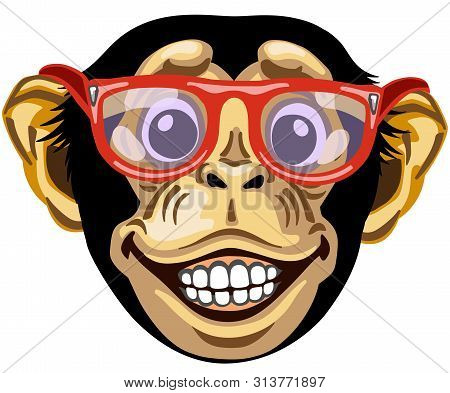Head Of Cartoon Chimp Ape Or Chimpanzee Monkey Wearing Glasses And Smiling Cheerful With A Big Smile