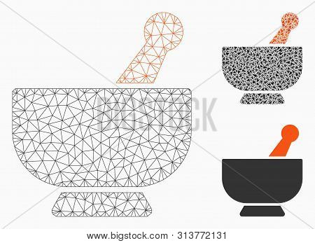 Mesh Mortar Model With Triangle Mosaic Icon. Wire Frame Polygonal Mesh Of Mortar. Vector Mosaic Of T