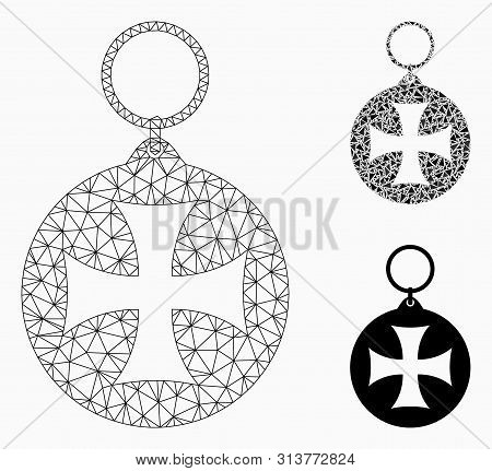 Mesh Maltese Cross Medal Model With Triangle Mosaic Icon. Wire Carcass Triangular Mesh Of Maltese Cr