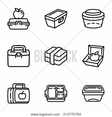 Lunch Box Icon Set. Outline Set Of 9 Lunch Box Vector Icons For Web Design Isolated On White Backgro