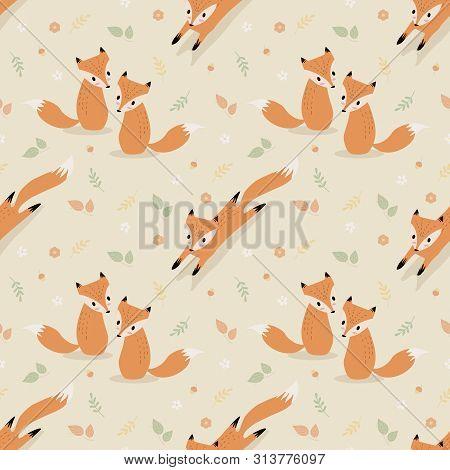 Cute Fox In Autumn Seamless Pattern Vector.