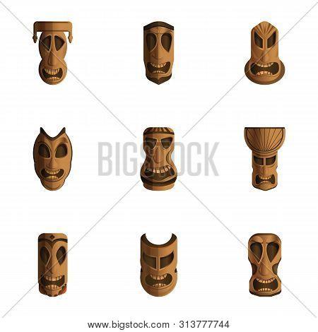 Aztec Idol Icon Set. Cartoon Set Of 9 Aztec Idol Vector Icons For Web Design Isolated On White Backg